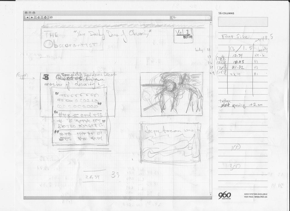 Example usage of the 960 frameworks 16-grid sketchsheet