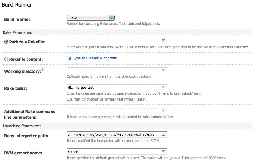 Rake task build runner settings