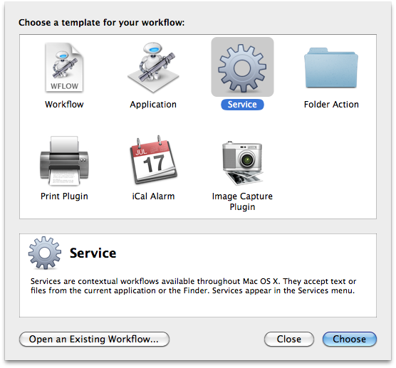 Creating a Service in Automator