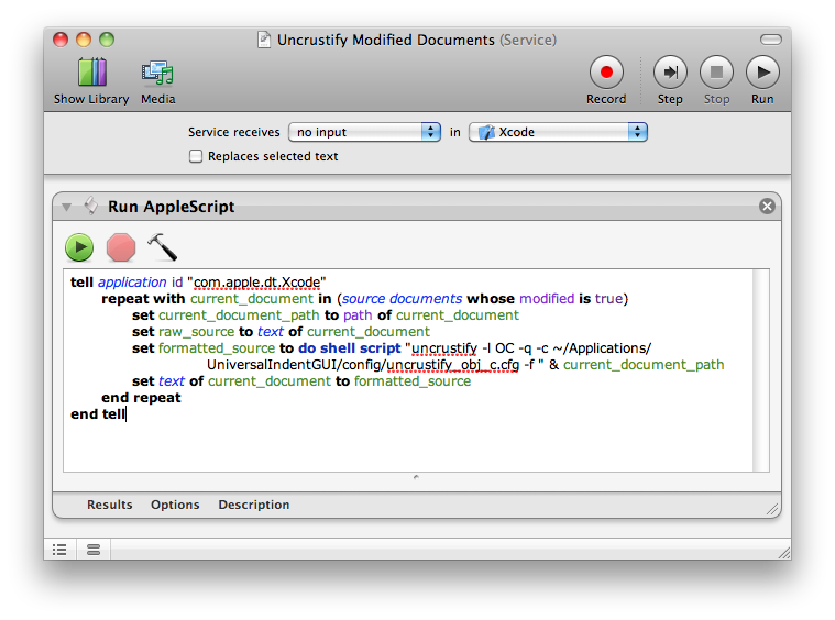 "The ""uncrustify modified documents"" service in Automator"
