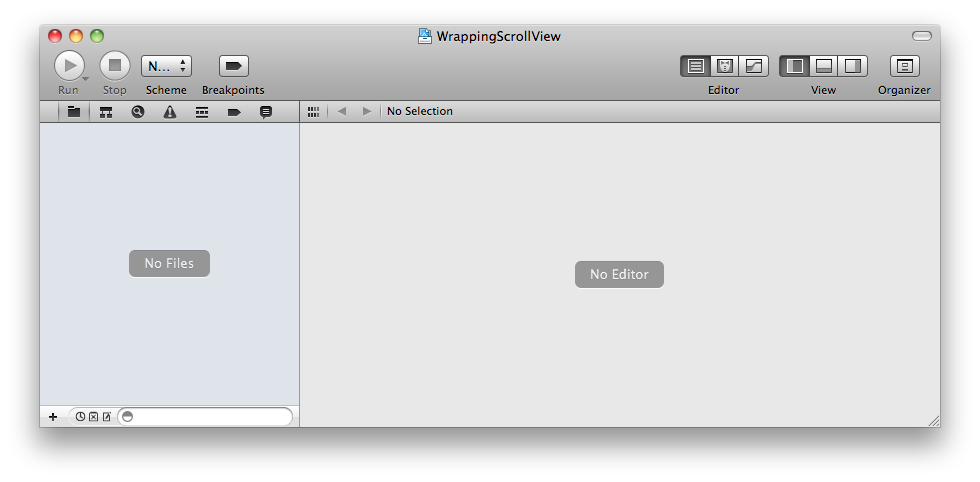 An empty Xcode 4 workspace
