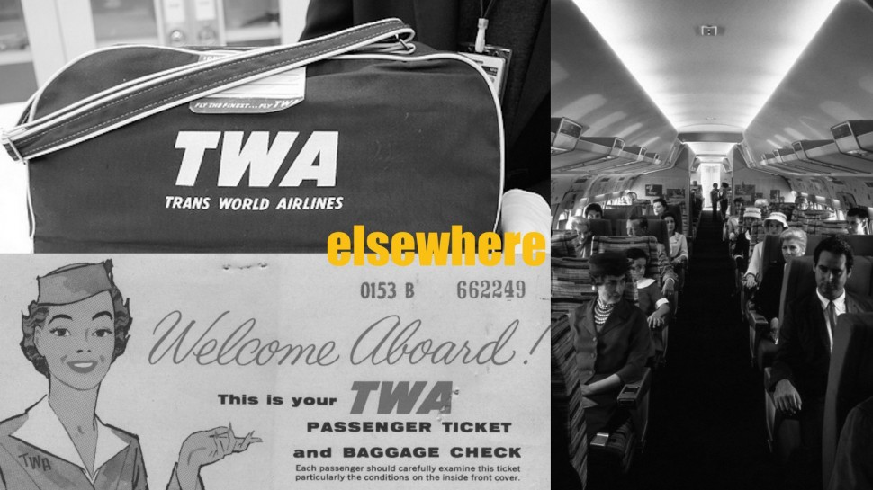 TWA bag, ticket and plane