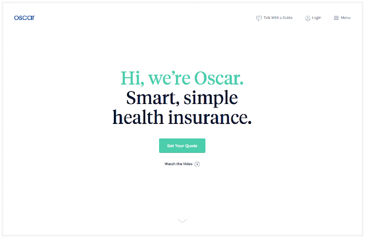 Oscar Health's homepage with a great tagline and call-to-action
