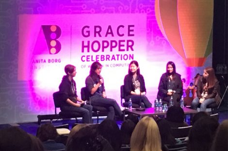 "Grace Hopper Career Panel 2016, entitled ""Startups, Big Companies, Silicon Valley, Government Contractor - What's the right career path for you?"""