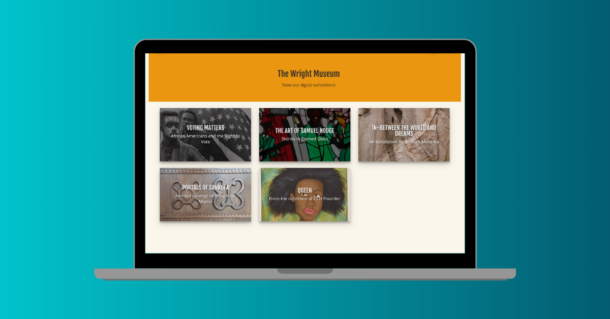 Black History Month 2021 Charles H Wright Museum Virtual Tour homepage on laptop